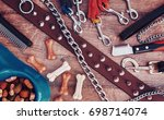 Stock photo dog accessories on wooden background top view pets and animals concept 698714074