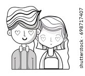 line beauty couple married with ... | Shutterstock .eps vector #698717407