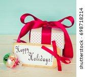 happy holidays card with... | Shutterstock . vector #698718214