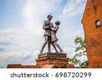 Small photo of GRUDZIADZ, POLAND - AUGUST 18, 2017: Monument to uhlan with girlfriend. Grudziadz, Poland