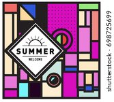 abstract geometric summer...   Shutterstock .eps vector #698725699