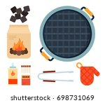 round grill top view  charcoal  ... | Shutterstock .eps vector #698731069