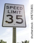 Small photo of Thirty five mile per hour speed limit sign