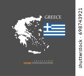 outline map of  greece  with... | Shutterstock .eps vector #698743921
