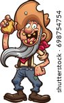 happy old cartoon prospector... | Shutterstock .eps vector #698754754