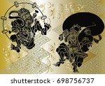 god of wind and thunder... | Shutterstock .eps vector #698756737