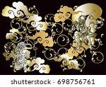 god of wind and thunder...   Shutterstock .eps vector #698756761