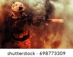 Small photo of Military Contractor or Soldier in Dusty Explosion Aiming Down His Sights, Military Simulation, Milsim, Airsoft