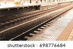 rail and station platform ... | Shutterstock . vector #698776684