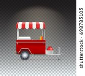 red fast food hot dog cart.... | Shutterstock . vector #698785105