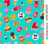 trendy girls fashion patches... | Shutterstock .eps vector #698789059