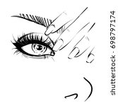 nail and eye make up sketch | Shutterstock . vector #698797174
