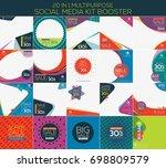 multipurpose social media kit... | Shutterstock .eps vector #698809579