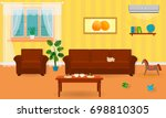 living room interior in bright... | Shutterstock . vector #698810305
