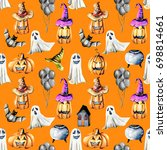 seamless pattern with... | Shutterstock . vector #698814661
