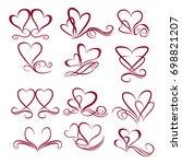 vector hearts set for wedding... | Shutterstock .eps vector #698821207