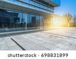 empty brick floor with modern... | Shutterstock . vector #698831899