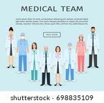 medical team. group of flat men ... | Shutterstock . vector #698835109