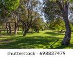beautiful green summer garden | Shutterstock . vector #698837479