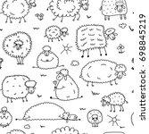 flock of sheeps  seamless... | Shutterstock .eps vector #698845219
