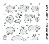 funny sheeps  sketch for your... | Shutterstock .eps vector #698845225