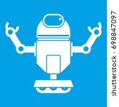 robot on wheels icon white... | Shutterstock . vector #698847097