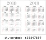 simple calendar for 2018 and... | Shutterstock .eps vector #698847859