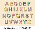 stylish vintage alphabet.... | Shutterstock .eps vector #698847925