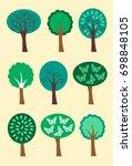 modern summer trees icons... | Shutterstock .eps vector #698848105