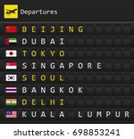 airplane departures destination ... | Shutterstock .eps vector #698853241