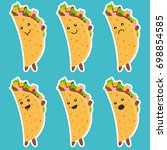 set of nice emotional taco... | Shutterstock .eps vector #698854585