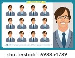 set of male facial emotions.... | Shutterstock .eps vector #698854789