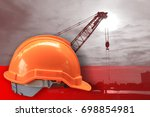 orange helmet symbol of safety... | Shutterstock . vector #698854981