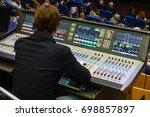 video and audio engineer... | Shutterstock . vector #698857897