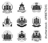 ancient fortresses emblems set. ... | Shutterstock . vector #698874241