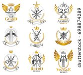 vintage weapon emblems set.... | Shutterstock . vector #698874289