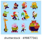 flat collection of happy funny... | Shutterstock . vector #698877361