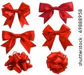 Set Of Six Red Ribbon Satin...