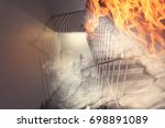 large fire in the building | Shutterstock . vector #698891089
