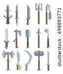 vector set of bladed weapons...   Shutterstock .eps vector #698893771