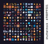 pixel art style icons set ... | Shutterstock .eps vector #698899501