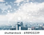 modern cityscape with buildings ... | Shutterstock . vector #698903239