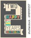stylish happy birthday gift... | Shutterstock .eps vector #698909257