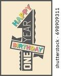 stylish happy birthday gift... | Shutterstock .eps vector #698909311