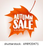 orange autumn leaf with sale... | Shutterstock .eps vector #698920471