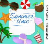 summer travel template with... | Shutterstock . vector #698921671