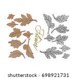 set of flower aster leaves ... | Shutterstock . vector #698921731