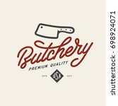 butcher shop emblem. butchery... | Shutterstock .eps vector #698924071