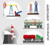 set  oil trailer  wagon tank ...   Shutterstock .eps vector #698924899