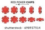 red poker chips vector. 3d... | Shutterstock .eps vector #698937514